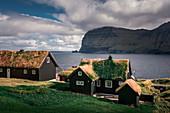 Mikladalur village on Kalsoy island in the sunshine, Faroe Islands