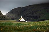 Church in flower meadow in Saksun Bay on Streymoy Island, Faroe Islands