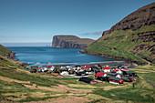 Tjørnuvík village on Streymoy on Faroe Islands by day