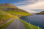 Street by the village of Bour on Vagar, Faroe Islands