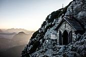 Small chapel a few meters below the summit of Hochstaufens, Chiemgau Alps, Bad Reichenhall, Bavaria, Germany