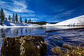 Mountain lake on the Winklmoos Alm in winter, Reit im Wink, Chiemgau, Bavaria, Germany