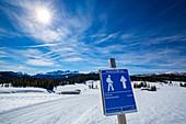Winter hiking on the Winklmoos Alm, Chiemgau, Bavaria, Germany