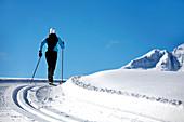 Langläuferin auf einer Loipe fährt aufwärts Richtung Berge, Alpen, Reit im Winkl, Bayern, Deutschland