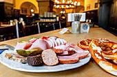 Bavarian Snack Augustiner Stammhaus, Munich, Bavaria, Germany