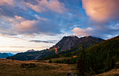 Sunrise on Monte Bivera in the Eastern Carnic Alps in the province of Udine in the Friuli Venezia Giulia region. Italy
