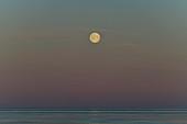 Full moon over the sea at dawn, Grimsholmen, Hallandslan, Sweden