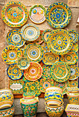 Traditional plates on display, Erice. Sicily, Italy