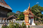 Entrance gate to the pagoda, Pak Ou, Luang Prabang Province, Laos, Asia