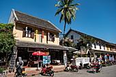 Mopeds in front of restaurant, Luang Prabang, Luang Prabang Province, Laos, Asia