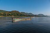 Tourist excursion boats on Mekong River, Luang Prabang, Luang Prabang Province, Laos, Asia