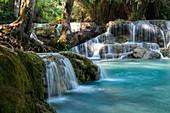 Natural pools under waterfalls at the Kuang Si Falls, Kuang Si, Luang Prabang Province, Laos, Asia