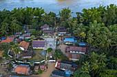 Aerial view of the village of Ban Muang Keo on the Mekong River, Ban Muang Keo, Chomphet District, Luang Prabang Province, Laos, Asia