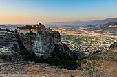 Holy Monastery of St Stephen at sunset, UNESCO World Heritage Site, Meteora Monasteries, Greece, Europe