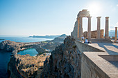 View over St Pauls Bay from the Acropolis of Lindos, Rhodes, Dodecanese, Greek Islands, Greece, Europe