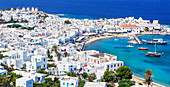 Mykonos Town and old harbour, elevated view, Mykonos, Cyclades Islands, Greek Islands, Greece, Europe