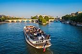 France, Paris, area listed as World Heritage by UNESCO, Ile de la Cite and a cruise ship