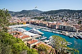 France, Alpes Maritimes, Nice, the old port or port Lympia from the Colline du Ch?teau