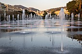 France, Alpes Maritimes, Nice, the promenade of Paillon or green casting, jets of water of the mirror of water of 3000 m