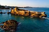 France, Pyrenees Atlantiques, Basque Country, Biarritz, the Rocher de la Vierge (Virgin rock) (aerial view)