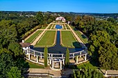 France, Pyrenees Atlantiques, Basque Country, Cambo les Bains, the Villa Arnaga and its French-style garden, the French author Edmond Rostand's house and museum (aerial view)