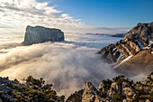 France, Isere, Vercors Regional Natural Park, National Highlands Vercors Nature Reserve, Mont Aiguille (2086m) emerges from a sea of clouds
