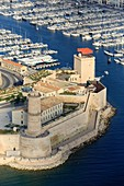 France, Bouches du Rhone, Marseille, 2nd district, Euromediterranee Zone, the Fort Saint Jean classified as a Historic Monument, the Garden of Migrations and the MuCEM, Museum of Civilizations of Europe and the Mediterranean R Ricciotti and R Carta architects, the old port (aerial view)