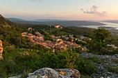 France, Var, Regional Natural Park of Verdon, Aiguines, the village, the castle, the lake of Ste Croix