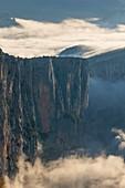 France, Var left bank and Alpes-de-Haute-Provence right bank, Verdon Regional Nature Park, Verdon Gorge, Grand Canyon, morning fog
