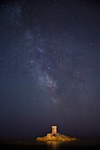 France, Var, Saint Raphael, the Dramont, the cloud of the Milky Way and the tower of the ?le d'Or