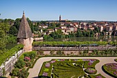 France, Tarn, Albi, the episcopal city, listed as World Heritage by UNESCO, Palais de Berbie, gardens and french flowerbeds 17th century
