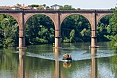 France, Tarn, Albi, the episcopal city, listed as World Heritage by UNESCO, barge on the Tarn