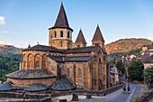 France, Aveyron, Conques, a stop on el Camino de Santiago, labelled Les Plus Beaux Villages de France (The Most Beaul Villages of France), Sainte Foy Abbey Church of the 11th century, masterpiece of Romanesque art
