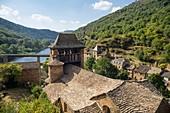 France, Aveyron, Parc Naturel Regional des Grands Causses (Natural Regional Park of Grands Causses), Route des Seigneurs, Brousse le Chateau, labelled Les Plus Beaux Villages de France (The Most Beaul Villages of France), the Gothic church