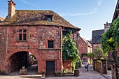 France, Correze, Dordogne Valley, Collonges la Rouge, labelled Les Plus Beaux Villages de France (The Most Beaul Villages of France), village built in red sandstone