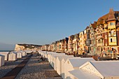 France, Somme, Mers les Bains, cliffs, beach cabins and seaside architecture villas