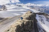 France, Savoy, Pralognan La Vanoise, Vanoise National Park, near the Pointe de la Rechasse, La Roche Ferran glacier and Rechasse glacier, view of the Tarentaise valley