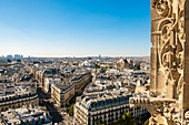 France, Paris, Chatelet district, general view from the observatory of the Saint Jacques tower
