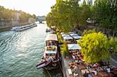 France, Paris, Rives de Seine Park, Seine banks listed world Heritage by UNESCO, Quai de l'Hotel de Ville, the Marcounet houseboat cafe