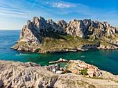 France, Bouches du Rhone, Marseille, Calanques National Park, Cap Croisette, Croisette passage, Monkey Bay, ?le de Maire (aerial view)