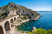France, Bouches du Rhone, Marseille, the blue coast, the calanque of the Vesse and the viaduct of the railway