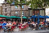 France, Ille-et-Vilaine, Rennes, Sainte-Anne square lined with 16th and 17th centuries half-timbered houses