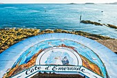 France, Ille-et-Vilaine, Dinard, orientation table at Pointe du Moulinet