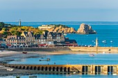 France, Ille-et-Vilaine, Emerald Coast, Cancale, view over the city and La Houle harbour, Le Chatellier islet and Cancale Rock in the background