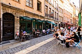 France, Rhone, Lyon, 5th district, Old Lyon district, historic site classified as World Heritage by UNESCO, rue Saint Jean
