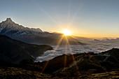Sunrise on Muldai with a view of Machapuchare, Pokhara, Nepal