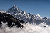 View of the sacred mountain Machapuchare, Pokhara, Nepal