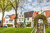 Old houses at the port of Toenning, North Friesland, Schleswig-Holstein