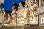 Evening mood with historic houses in Hökerstrasse in Stade, Lower Saxony, Germany