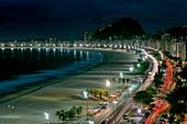 View over Copacabana Beach at night, Rio de Janeiro, Rio de Janeiro, Brazil, South America